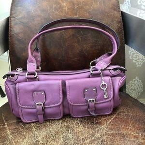 Fossil purple leather shoulder bag